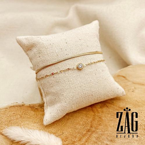 Bracelet double Auria (acier chirurgical plaqué or et oxydes de zirconium)