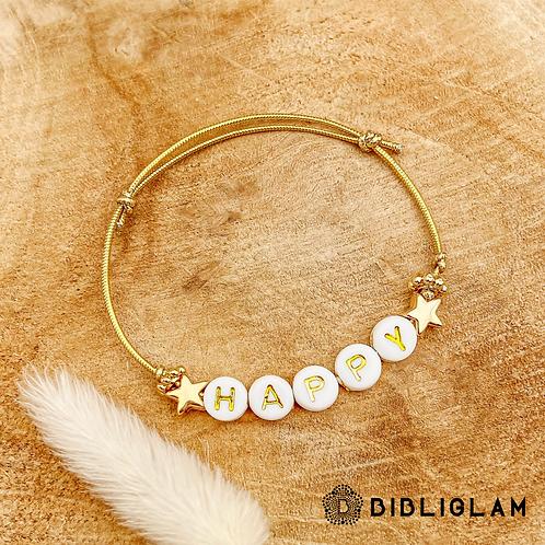 Bracelet Happy (élastique doré)