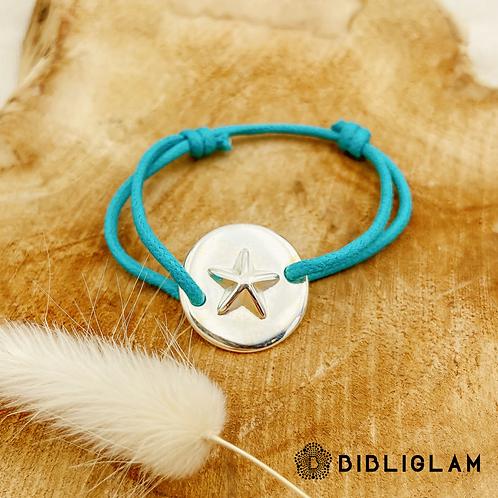 Bracelet Camilia (cordon bleu turquoise et métal argenté)