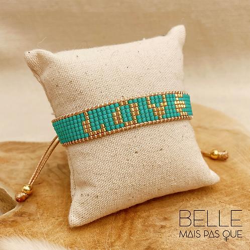 Bracelet Aqua Love (plaqué or & perles de myuki turquoises)