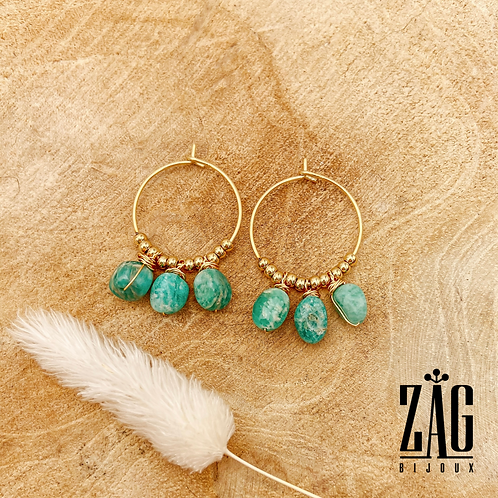 Boucles Emmy (acier chirurgical plaqué or & Amazonite)