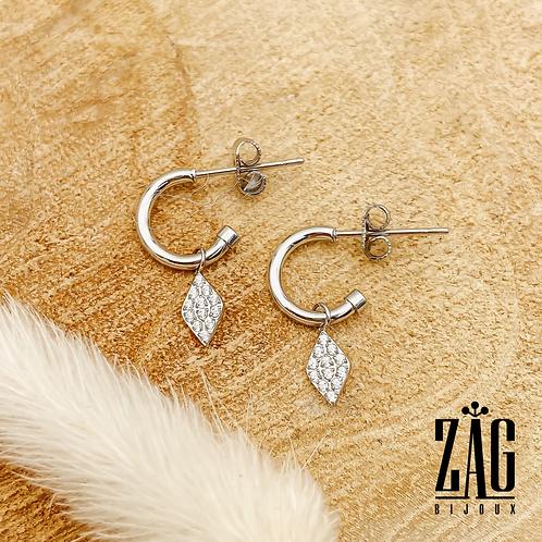 Boucles d'oreilles Losange (acier chirurgical plaqué or gris)