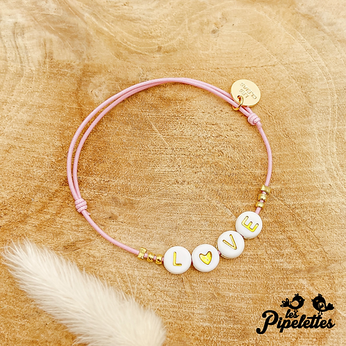 Bracelet Message (élastique rose pâle)