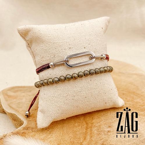 Bracelet Eric (acier chirurgical plaqué or gris & pierres fines)