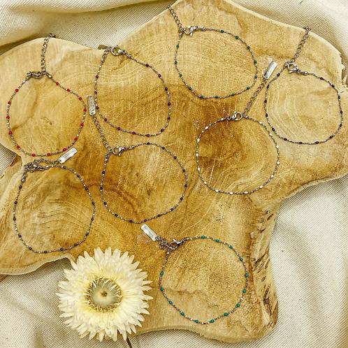 Bracelets Lou (acier chirurgical plaqué or gris)