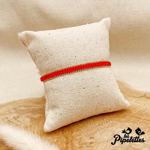 Bracelet Kirsty (doré avec perles de myuki couleur rouge)