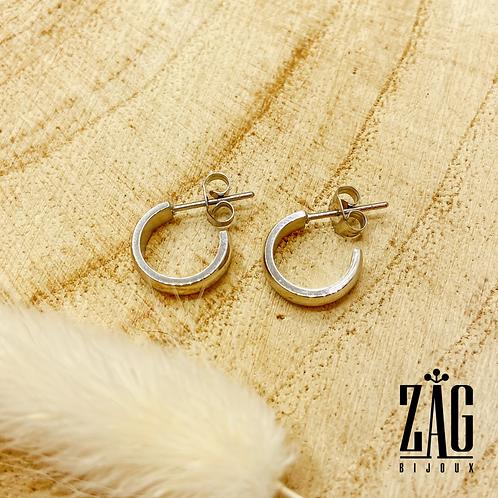 Boucles d'oreilles Aline (acier chirurgical plaqué or gris)