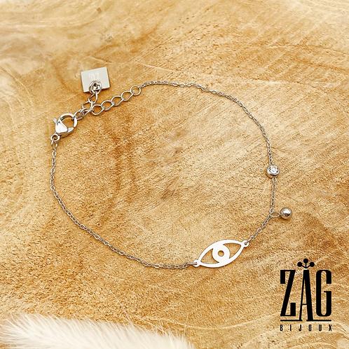 Bracelet Kenza (acier chirurgical plaqué or gris)