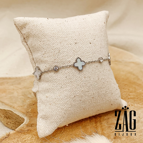 Bracelet Trify (acier chirurgical plaqué or gris & oxyde de zirconium)