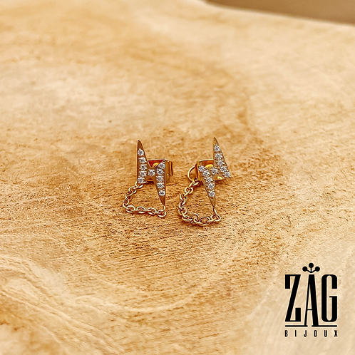 Boucles d'oreilles Éclair (acier chirurgical plaqué or & oxydes de zirconium)