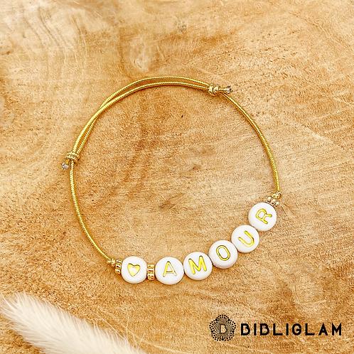 Bracelet Amour (élastique doré)