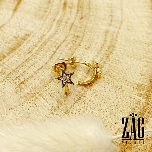 Boucles d'oreilles Galina (acier chirurgical plaqué or et oxyde de zirconium)
