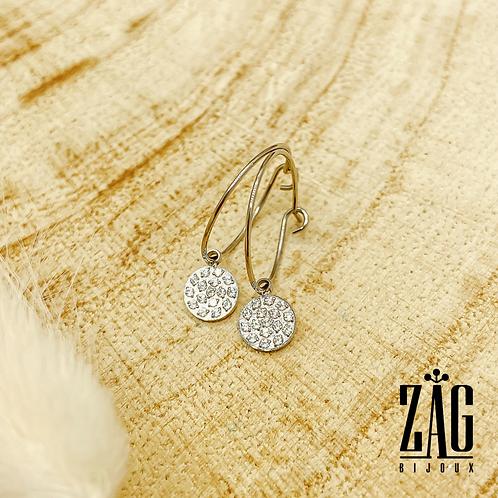 Boucles d'oreilles Lux (acier chirurgical plaqué or gris)