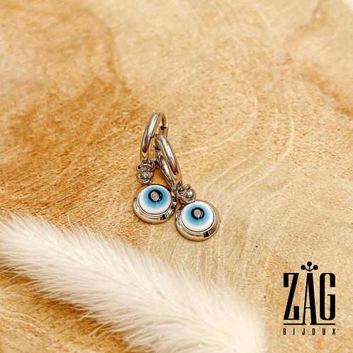 Boucles d'oreilles Evil Eye (acier chirurgical plaqué or gris)