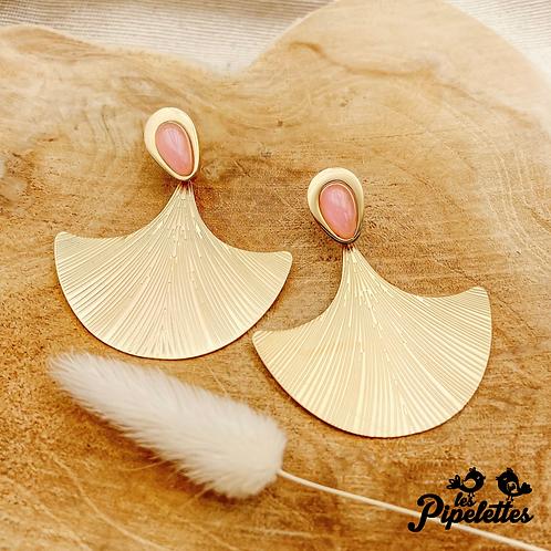 Boucles d'oreilles Fan (acier chirurgical plaqué or)