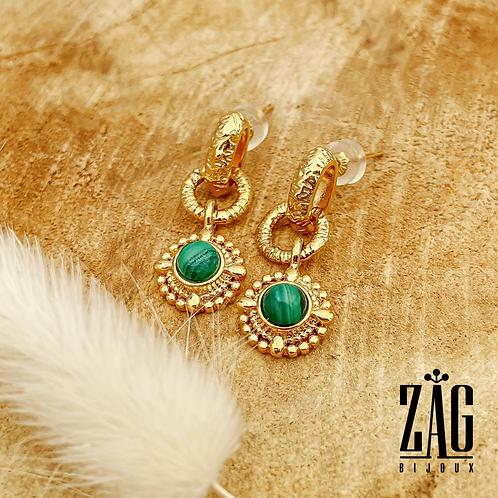 Boucles d'oreilles Zélie (acier chirurgical plaqué or & pierre fine)