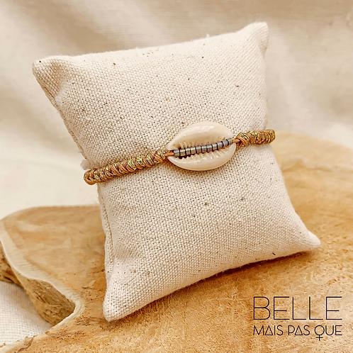 Bracelet Cory couleur café (Coquillage Corie & fils lurex)