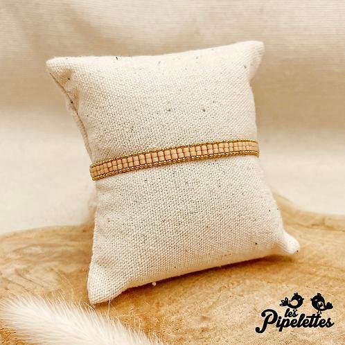 Bracelet Kirsty (doré avec perles de myuki couleur chair)