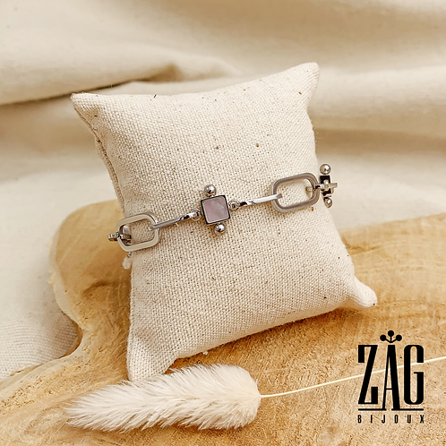 Bracelet Héloïse (acier chirurgical plaqué or gris & pierres fines)