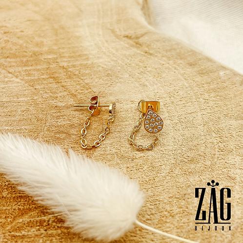 Boucles d'oreilles chaîne et gouttes (acier chirurgical plaqué or)