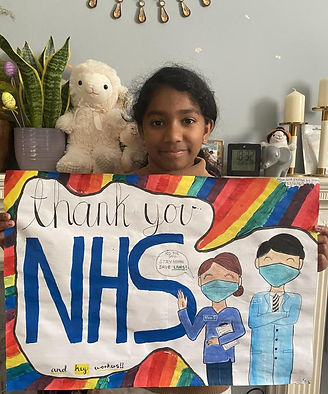 Dean Russell MP NHS Poster Competition winner Stacey Stephenson showing her Thank You NHS Poster