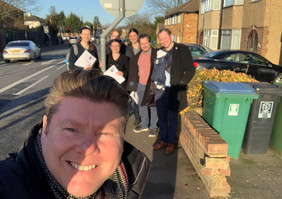 Dean Russell MP Watford campaigning on street
