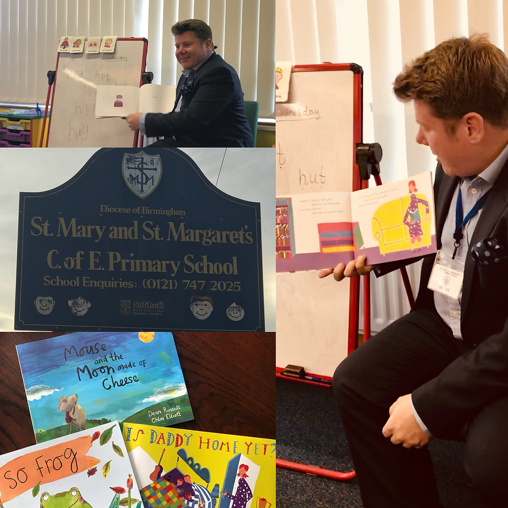 Dean Russell reading his children's books at St Mary and St Margarets Church Of England School
