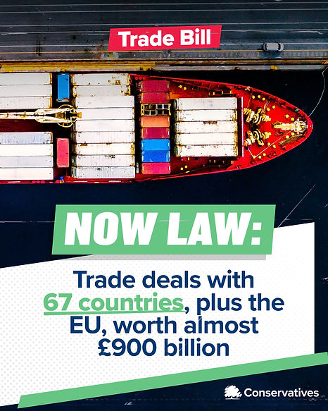 Trade Bill Poster: Now Law, Trade Deals with 67 countries, plus the EU, worth almost £900 billion