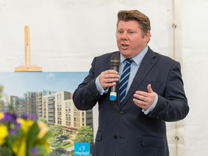 Dean Speaks At Mayfield Watford Topping Out Ceremony