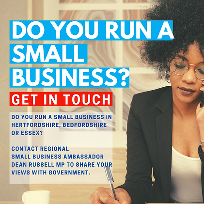 Do you run a small business? Get in touch with Dean Russell MP Watford