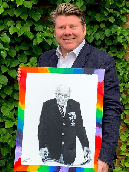 Dean Russell MP with his painting of Sir Captain Tom Moore auctioned for the WHHT Raise charity