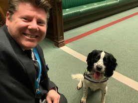 Dean Russell MP Watford with a dog