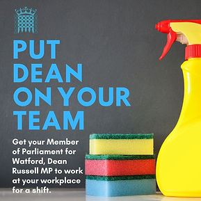 Put Dean On Your Team - graphic explaining Dean will do a shift with local businesses and charities