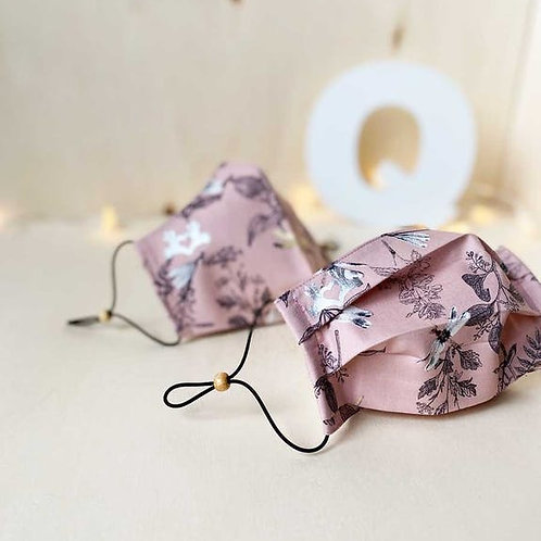 Masque imprimé feuilles - 2 plis - Rose