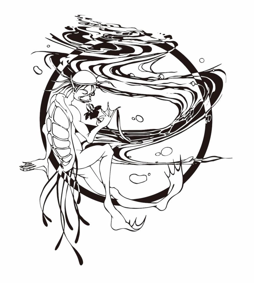 『水とお花を愛でる河童ちゃん♫』