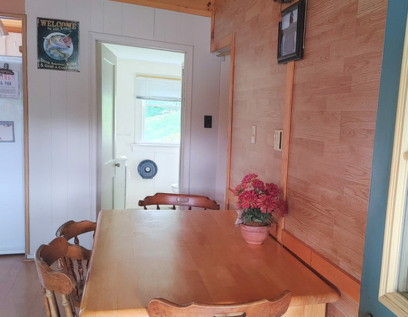 Table with bathroom in back