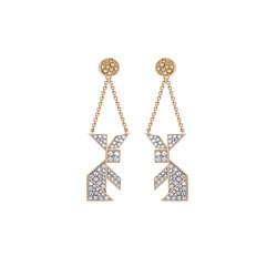 Moon rabbit ear-pendants