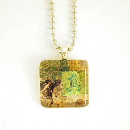 Necklace, Small Marbled Square