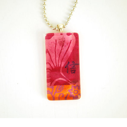 Necklace, Large Magenta Rectangle