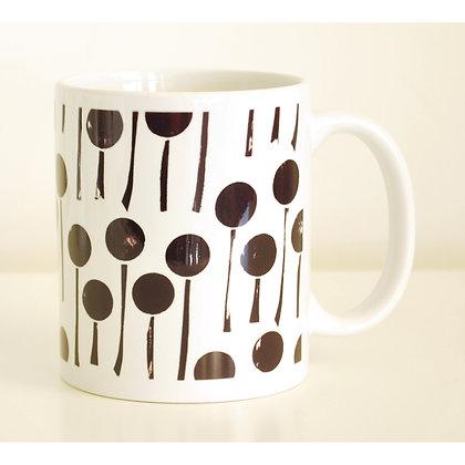 Mug, Black & White Dandelions