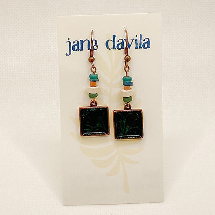 Earrings, Dark Teal Copper Squares