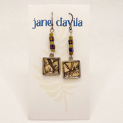 Earrings, Slate Blue Silver Squares