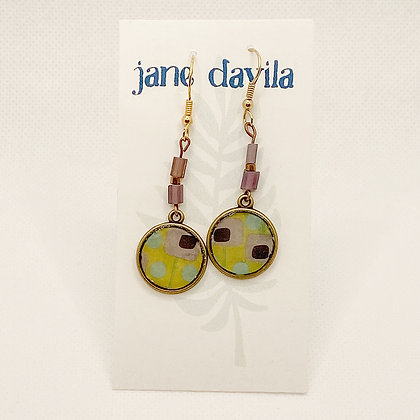 Earrings, Lime Brass Circles