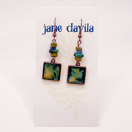 Earrings, Teal Copper Squares