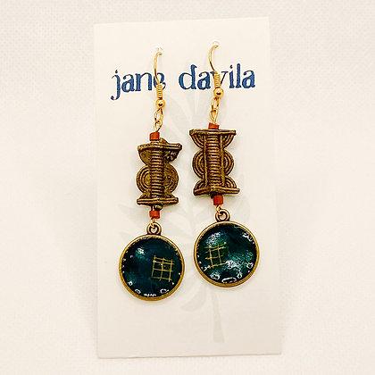 Earrings, Teal Brass Circles
