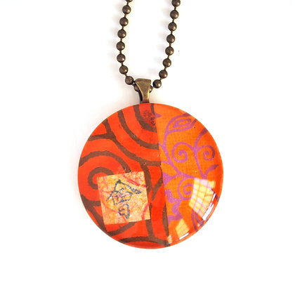 Necklace, Large Orange Circle