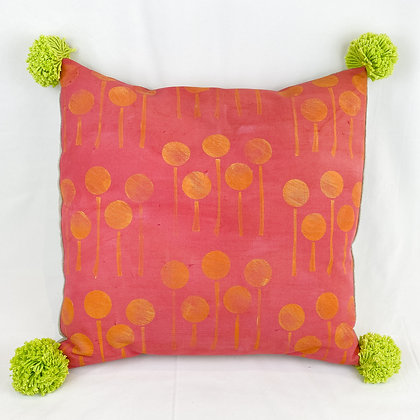Pillow, Pink Lollipop Flowers