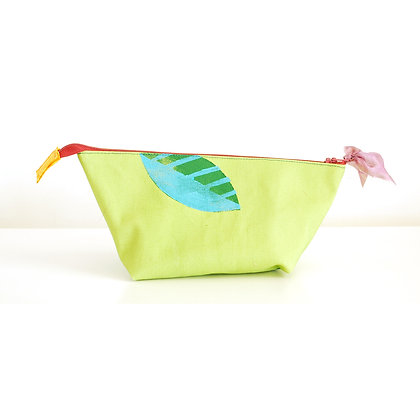 Pouch, Teal Leaves