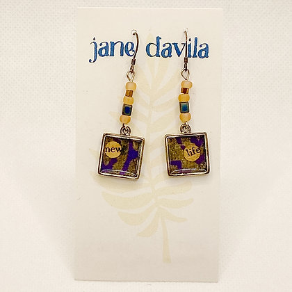 Earrings, Purple Silver Squares