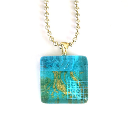 Necklace, Small Teal Square